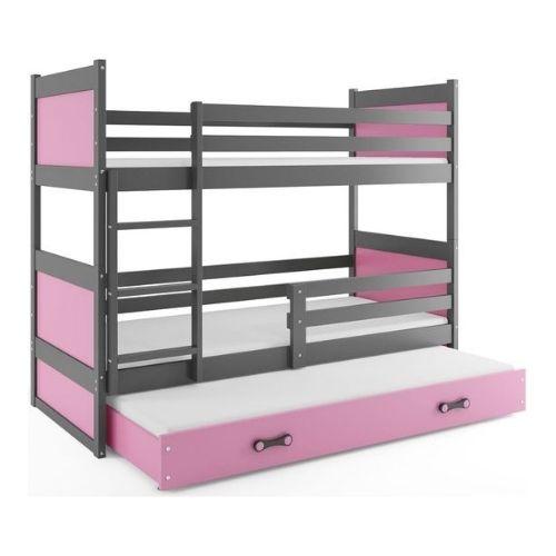 Lit-superposé-fille-rose-bois-gris
